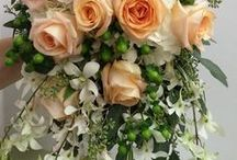Norton's Weddings- White, Peach & Green / Summer wedding including hydrangea, roses, peonies, freesia, hypericum berries. Cascade style.