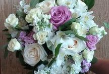 Norton's Weddings- White, lavender, red / Bridal bouquet and bridesmaid bouquets with lavender roses and fragrant white stock.