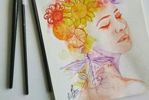 #Aquarelle #drawings / Im in Love with Aquarelle colors, its not easy but interesting