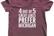 Michigan Awesome Women's Fitted Tees / Show your Michigan love with these shirts tailored specifically for women! Printed in Michigan on high-quality American Apparel tees. Wear with pride!