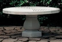 Sutherland + Cast Stone Base Dining Tables / Designed by Bill Goldsmith