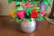 мои работы / я занимаюсь творчеством различных видов - канзаши, бисеро плетение, вышивка бисером и нитями и т. д.