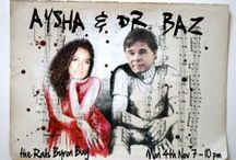 Aysha & Dr. Baz - Music Posters / Promotional posters designed by Barry Ferrier for performances by the Byron Bay based music duo, featuring London born vocalist Aysha and Doctor Baz playing their mix of blues, jazz and funk.