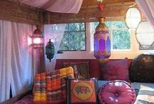 Bedrooms (Bohemian, Ethnic style  & Tribal) / Great Bedroom Ideas chosen by team at Nomads.co.uk, mainly Bohemian style, lots of colour and amazing tribal patterns