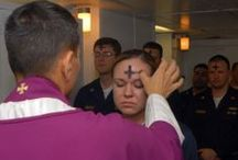 Lent Ash Wednesday and Holy Week / Lent is a solemn religious observance in the calendar of many Christian denominations that begins on Ash Wednesday and covers a period of approximately six weeks before Easter Day. The purpose of Lent is the preparation of the believer through prayer, penance, repentance of sins, almsgiving, atonement & self-denial.  / by Edelmira Brown