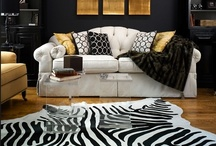 Cowhide rugs / Lovely interior decor room settings that use leather cowhide rugs. Ideas and ways to use cowhide rugs. Cow skins in natural colours and patterns.