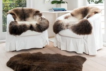 Sheepskins & Reindeer Skins / Animal skins used in interior decor & design schemes. Showing the softening role that sheepskins and reindeer skins play in a room design. www.gorgeouscreatures.co.nz