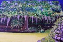 Art Work / Many different artists' art work of the Jungle Gardens on Avery Island.