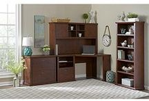 Bush Furniture: Yorktown Collection / The Yorktown Collection creates a comfortable home office environment with a timeworn classic look in Antique Cherry.  Craftsman design features work space and storage options for any setting.