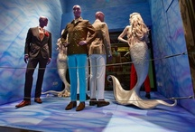 windows display Isaia Harrods London and boutique Milano / AD: Paola Manfrin Set Design: Fiorenza Manfrin