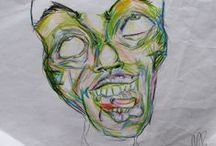 My Art Portfolio / series of sketches i drew in rehab with mostly ballpoint pen and colored pencil