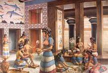 Knossos & Mycenae, Sister Civilizations / Archaeology, photos, architecture, vases, earthenware, frescoes, Minoan & early Greek civilizations of Knossos & Mycenae