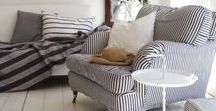 Straight down the line with Stripes / Stripes will always be a timeless trend, and a classic look for every home. Whether it's in your curtaining, bedding, or upholstery, it will always turn heads and blend seamlessly with other patterns. Fabrics found at www.marthas.co.nz