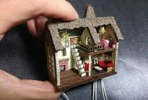 Miniature houses and furniture / Never too old to play while creating something to play with.