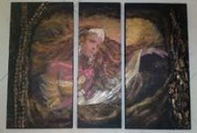 my experiments in mixed media / mixed media paintings or decoration items