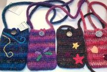 Gossamer Tangles Felted Bags and Purses / Purses and bags that were hand-crocheted and felted.