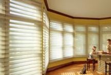 """Silhouette® Window Shadings by Hunter Douglas / Silhouette® Window Shadings are a transcendent window treatment product, with fabric """"vanes"""" sandwiched between two sheer layers of fabric. Depending on the degree of the tilt of the vanes, which you control, you can create almost limitless lighting effects. A wide array of fabric colors, textures and opacities assure that you will find exactly the look and function you want for your special room."""