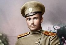 """World War I / My Grandfather fought Russians for the Kaiser in WWI. He was captured early in the war and spent the rest of the war in a prison camp in Siberia. I have a post card that he sent to his mother through the red cross. I had it translated and he basically said """"I've been treated well, do not worry."""" I wonder how it really was for him. He was killed in a tractor accident in 1955, so I never got to speak with him. I would've had many questions. / by Wayne Kedsch"""