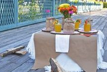 The Perfect Picnic / Decorations for the perfect picnic. Includes Invitation, Place Cards, Centerpiece, Brown Paper Bag Menu and beautiful flower bridge location!