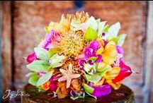 Bountiful Bouquets / Beautiful bouquets in sunset tones, perfect for a Maui wedding! Special thanks to Kihei Wailea Florist, Dellables, Bella Bloom, and Mandy Grace Designs.