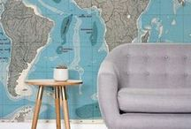 Wall Murals | Maps / Get some travel inspiration from these beautiful World Map Wallpapers. With a carefully crafted collection, including detailed vintage maps to illustrated contemporary maps.