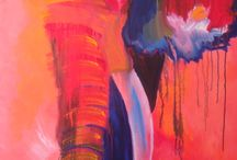 Elephants Under Water / Fun and free elephant spirit art Semi-abstract acrylic on canvas (gallery quality)  All art is copyright