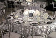 Black and White party or wedding / A simple yet elegant color scheme.  Lovely things happen in black and white.