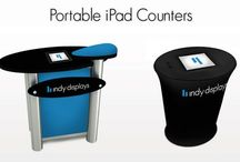 Portable iPad Counters & Kiosks / Portable iPad Counters and Kiosks for Trade Shows.  http://www.indydisplays.com/blog/completing-trade-show-booth-portable-ipad-counters/