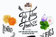 Fabulous Fibre / There's so much more to Fibre than you think; Where to find it, what it does and how to get more of it - Fibre's actually rather interesting!   Take a look at our beautiful Fibre rich infographics and learn more about the difference Fibre and All-Bran can make to you
