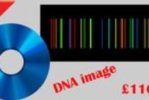 DNA portraits with your Unique DNA code / We sequence your unique DNA barcode and print it for you in canvas, aluminium or acrylic mediums. A more economic option is sending your DNA barcode in a CD for you to print in any size and material.