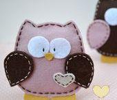 Felt owls, butterflies