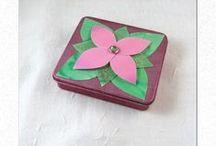 BOITES METAL RECYCLEES / Petites boites métal, repeintes et décorées pour ranger vos bijoux, vos trésors, cagnotte, ou vos cigarettes