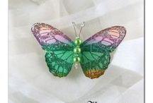 BARRETTES PAPILLONS / barrettes papillons de soie , satin, ou tissu