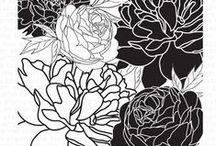 Garden Cling Background Stamps / Peony Garden; Rose Garden; Morning Glory Garden; Cherry Blossom Garden; Poinsettia Garden; Poppy Garden