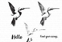 Hello Hummingbird / A board of inspiration for our layered humming bird stamp set.