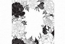 Border Cling Stamps / Floral Border; Holiday Border; Morning Glory Border