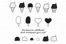 Sundae Bar Clear & Ice Cream Party Cling Stamp