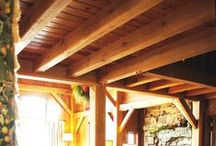Timber Frame Beamed Ceilings / Wood Ceiling Beams - Timber Frame Ceiling Beams - Beamed Ceilings - Exposed Beam Ceiling - Solid Wood Beams - Homestead Timber Frames - Crossville Tennessee