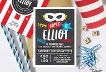 Superhero Party Theme Styling / Superhero Birthday Party Invitations, party printables, superhero costumes