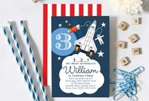 Astronaut/Space Shuttle Rocket Birthday / Astronaut Birthday party invitations, cupcake toppers, backdrop, Space craft box