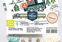 Vintage Train Birthday Party / Train Invitations, Kids birthday party printables