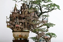 Amazing Miniature Sculptures + More Amazing Things / An amazing Japanese artist Takanori Aiba creates fantastically detailed tiny tree houses atop bonsai trees. Using copper line, epoxy putty, plastic, resin and stone clay, he fashions detailed buildings, bridges, balconies and towers. / by Barbara Richter
