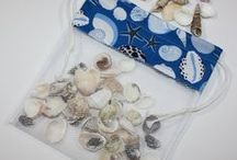Sea Shell Bags on Etsy / If you love the beach but come home with pockets full of broken shells and a car full of sand, you'll love these shell bags.  Put your shells in the bag, shake out the sand, and dip it in the water for a quick rinse.   You can have one for every member of the family in different fabric choices so everyone will be able to identify their own beach treasures. / by Frog Blossoms