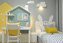 Kids room / Pins showing beautiful Kids bedroom interiors, interesting color combinations for girls and boys room, kids safe furniture, organizational hacks etc