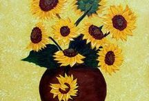 Sunflowers / Big, sunny sunflowers brighten up any wall. This board offers a variety from original acrylic paintings to photographs.
