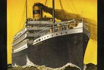 Voyages bateaux / Illustrations de bateaux et publicités transatlantiques