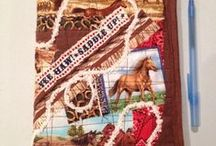 """Crazy Journal  Covers / Crazy Quilt style journal covers fits a 6""""x9"""" coil notebook. Machine washable. When your journal is full, simply slip the cover onto a new notebook!"""