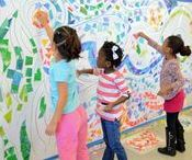 Murals /  We love to let the children in our art studio in Charlotte, NC collaborate together to make a beautiful mural! We're always looking for new inspiration! Here are fun and creative kid friendly mural projects.