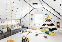 Playroom Ideas + Inspiration / Want to create a dedicated play space where your kids' can create, imagine and play? We've got tons of inspiration for a modern, fun and colorful kids' playroom and/or arts and crafts area. And the best part? You can forget the mess exists by just closing the door.
