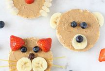 "Kids Snacks: Easy, Healthy + Delicious Recipes / Our kids like to pull the ol' ""I'm soooo full"" move while finishing their meals, then (in the same breathe) say ""can I have a snack?"" There's just something about snacks that kids love. So try these fun, simple, quick and healthy (well, healthier) ideas to pack some goodness back into snack time."